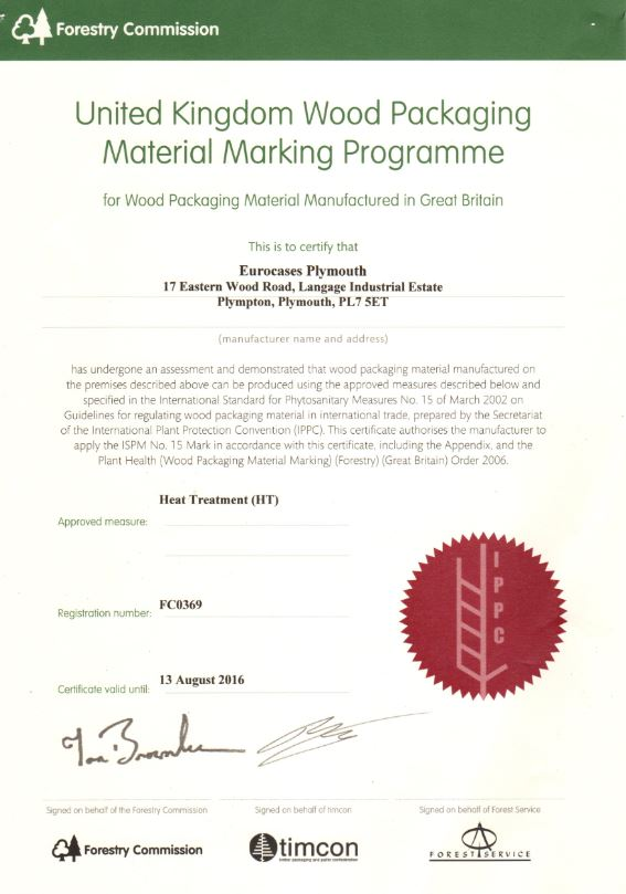 ISPM Packing Crate Certificate