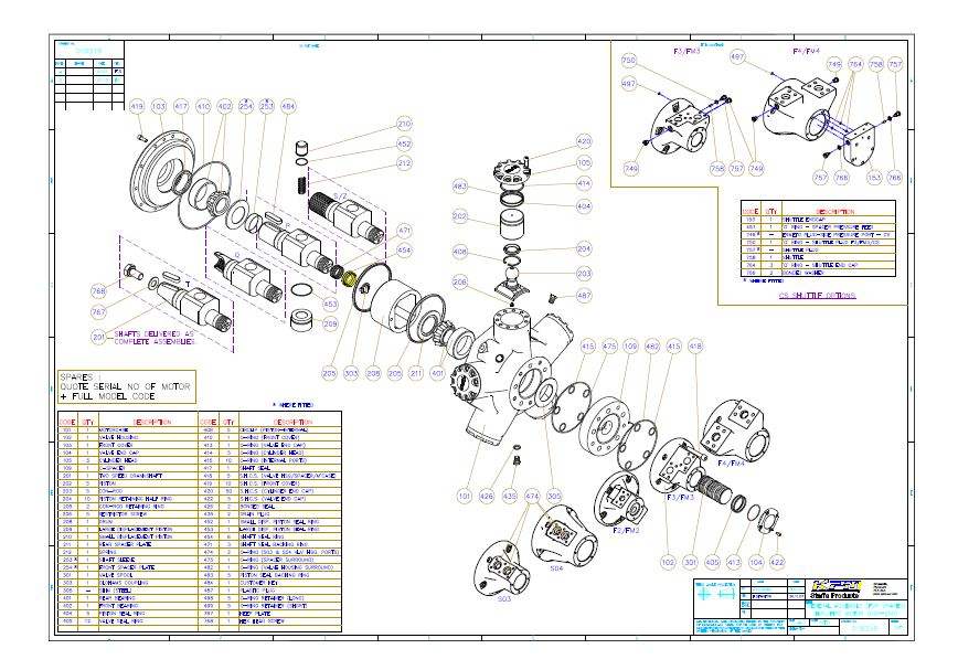 HPC 5 Cylinder Spares Drawing
